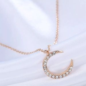 Gold color rhinestone Crystal Moon Chain Necklace
